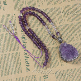 Fashion Natural Druzy Amethyst Quartz Crystal Random Pendant Inlay Rhinestone Amethyst Quartz Round Gemstone Beads Chain Necklace Jewelry
