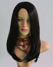 free shipping****Fashion Wig Heat Resistant Fiber Long Straight Black New Cosplay Party Wig