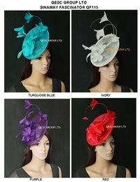 New Arrival.sinamay Feather Fascinator Hat for Melbourne cup,Wedding.Kentucky derby,Races.Turquoise blue,red,ivory,purple.