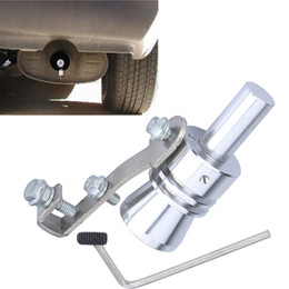 Wholesale Universal Car Turbo Whistle Sound Car Exhaust Pipe Tailpipe Muffler BOV Blow off Safety Valve Simulator Aluminum Size M Silver