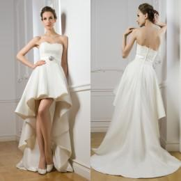 2016 Wedding Dresses Hi-Lo Bridal Dresses Beach Wedding Gowns Strapless A Line New Arrival High Low Wedding Dresses with Appliques