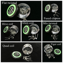 Flat twisted wire Fused clapton coils Hive premade wrap wires Alien Mix twisted Quad Tiger 9 Different Heating Resistance 10pcs box for RDA