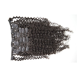 100% Brazilian Remy Human Hair weaving Clip In Hair Extensions 7PCS Full Head Set 8-26inch natural Color afro kinky curly hair G-EASY