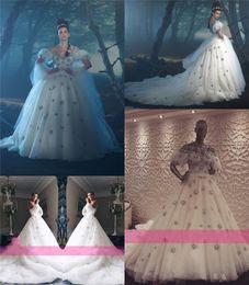 Wholesale Luxury Dubai Arabic Plus Size Wedding Dresses Dar Sara Crystal Sequins Beaded Puff Short Sleeves Real Image Chapel Princess Bridal Gown