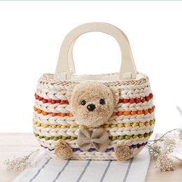 Wholesale Environmental material West lucky teddy bear straw handbag summer beach women bag wood hands Sundries bags