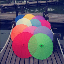 Wholesale Chinese Colored Paper Umbrella Parasols China Traditional Dance Color Parasol Japanese Silk Props