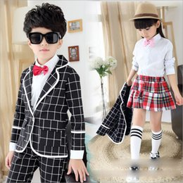 Wholesale 2015 Male and Female Girls and Boys Wind Academic Models Fall Clothing School Students Plaid Long sleeved Suit Children s Clothing Uniforms
