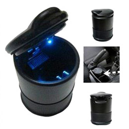 Wholesale 2015 New Portable Auto Car Truck LED Light Cigarette Smoke Ashtray Ash Cylinder Cup Holder In Car Travel Smokeless Accessory