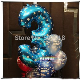 """Wholesale-40"""" Cute Blue Pink Alphabet Letters Number 1-9 Foil Balloons Happy Birthday Party Wedding Decoration Ballon Free shipping"""