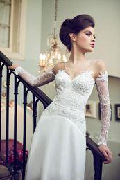 2015 Romantic Lace Wedding Dresses Sheer Neck V Neck vestido de noiva A Line Applique Garden Cheap Bridal gowns made in China