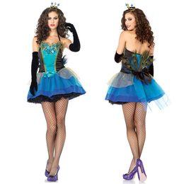 Wholesale sexy adult performance clothing spandex princess dress performance dress peacock dress cosplay custom clothing cartoon