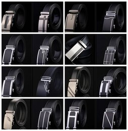 Wholesale PrettyBaby men genuine leather belt business casual automatic buckle belt black mens belt without gift box in stock