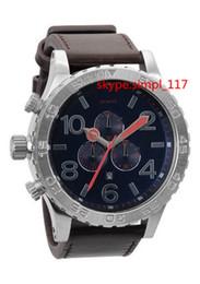 Wholesale 2015 New Arrivals A124 men s casual sport quartz chrono watch bule dial leather Wristwatches with original box christmas gift