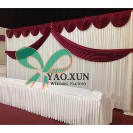 White Wedding Backdrop Curtain \ Stage Background With Colorful Swag Drape Decoration