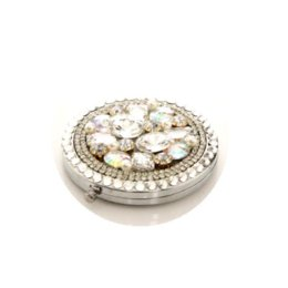 10 Pcs Lot Rhinestone White Gem Make Up Mirror Stainless Steel Frame Double Sided Enlarg Compact Mini Mirror Wholesale