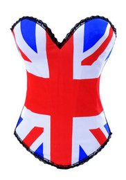 Wholesale Hook And Eye Corsets Bustiers With UK USA Flag Print Overbust Corset Boned Waist Trainers Elatric Burlesque Costume Gothic