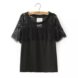 Wholesale Stylish White Shirts For Women - 2015 Summer New Hot Women Stylish O Neck Embroidery Black White Lace Blouse brand Blusas For Woman Elegant Pullover Tops Shirt
