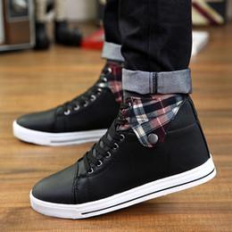 Descuento hombres zapatos nuevos estilos Nuevo estilo de los zapatos ocasionales de los hombres con cordones de top del alto de los zapatos para los zapatos para hombre de los zapatos de lona de la Ronda del dedo del pie masculino suela de goma plana Hombre al por menor H372