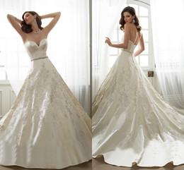 Wholesale 2016 Spring Sophia Wedding Dresses UK Sweetheart Sleeveless Backless Appliques Lace Beaded Satin Ball Gown Wedding Dress