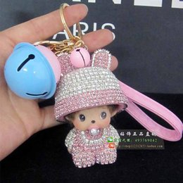 Wholesale Interior Accessories Key Rings Small bell Meng Qiqi Diamond Key buckle Car decoration ornaments Crystal lady Auto accessories bag