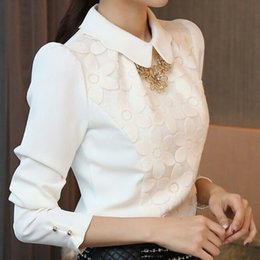 Good quality Korea Version women's long sleeve sweet lace floral and Chiffon pactchwork shirt blouses, S-XXL OL office work tops
