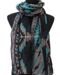 Племенные печатные издания для продажи-Wholesale-10pcs / много Племенной ацтеков Boho Гео Распечатать женщин длинный шарф мусульманский хиджаб Wrap, бесплатная доставка