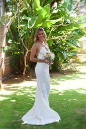 Lace Sexy Backless Wedding Dresses Mermaid Summer Garden Beach Wedding Gowns Elegant Lace Simple Spaghetti Bridal Dress Court Train Vestidos