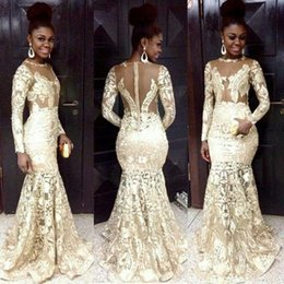 Wholesale 2016 South African Style Evening Dresses Lace Sheer Neck Long Sleeve Mermaid Beaded Modest Prom Dress For Woman Plus Size Formal Party Gowns