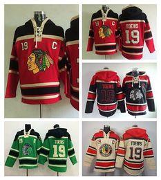 Jonathan Toews Hoodie 19 Chicago Blackhawks Hoody Old Time Toews Blackhawks Sweatshirt Ice Hockey Pullover Red Black Green