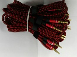 High Quality Weave Gold Jack Audio Cable 1.5M 5FT Extend AUX Cable Line 3.5mm To 3.5mm - 100PCS
