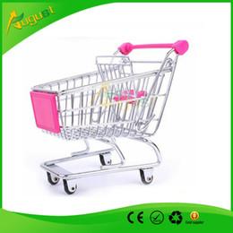 Wholesale Novelty Cute Cart Mobile Phone Holder Pen Holder Mini Supermarket office Handcart Shopping Utility Cart Phone Holder