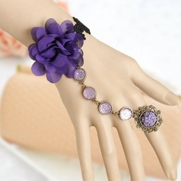 Wholesale Elegant Purple flower Bracelet with Fabric Flower Gothic Retro Style Costume Jewelry Adjustable approx quot to quot Whitney Houston D501M