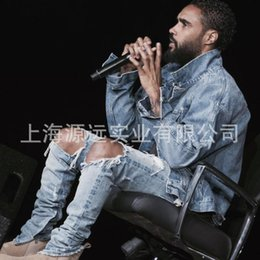 Wholesale kpop skinny ripped korean hip hop fashion pants cool mens urban clothing jumpsuit men s jeans yeezy kanye west slp fear of god