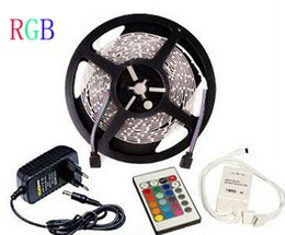5m SMD3528 12V RGB LED Strip Light Lamp 300leds roll 60leds m Strips Lighting Non-waterproof Rope with 2A Power Supply 24Keys Remote Control
