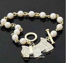 Wholesale Leather Bracelet Bijoux for Women Bracelet Men Beaded Strands Korean Fashion Accessories Factory Direct Hot Dog Full Diamond Pearl St0128