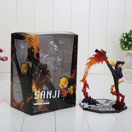 Wholesale 6 quot One Piece Anime Black Leg Sanji Fire Battle Version Boxed PVC Actiong Figure Collectio Model Toy Gift