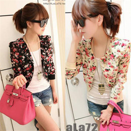 Hot Sales Womens Long Sleeve Chiffon Floral Print Bolero Shrug Jacket Short Coat Zipper Free Shipping