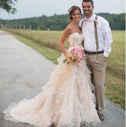Organza A Line Wedding Dresses 2019 Handmade Ruffles Tiered W1516 Modern US 2 4 6 8 10 12 14 16 18++ Princess Bridal Sweetheart Romantic Top