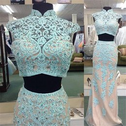 Real Image Two Pieces Sheer Evening Dresses Beads 2016 Applique Sexy Cheap Custom Formal Party Dress Pageant Long Prom