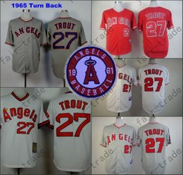 Wholesale 2015 Mike Trout Jersey White Grey Red Cool Base Los Angeles Angels Jerseys Stitched