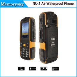 Wholesale Waterproof Phone NO A9 Shockproof Pressure Proof Freeze proof Dust proof mAh Super Flashlight FM No Earphone by DHL