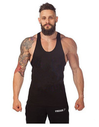 New Tank Tops Fitness Men Blank Stringer Cotton Tank Top Singlet Bodybuilding Sport Undershirt Clothes Gym Vest Muscle Singlet Tees 7 Colors