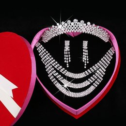Wholesale Elegant Wedding Bridal Hair Accessories Pearls Crystal Rhinestone Swarovski Silver Headband Beaded Crown Tiara Necklace Earrings Jewelry Set