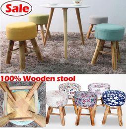 Wholesale 100 Wood bar stool cotton wooden furniture waiting stool Salon chair dresser stool bathroom stool styles