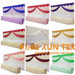 White Color Wedding Backdrop Curtain With Color Swag Include LED String Lights \ Wedding Background Free Shipping