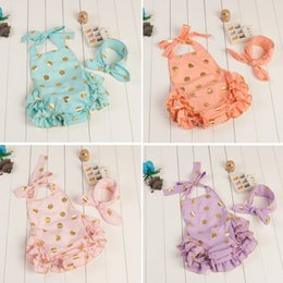 Wholesale Babys Grils One Piece Tutu Romper spring summer Children s Cotton Gold Dot Sequins Lace Sleeveless with bow Headband Set Romper ZZ