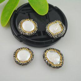 Free Shipping! 8Pcs Druzy Imitation Pearl & Rhinestone Crystal Connector Beads Jewelry Making