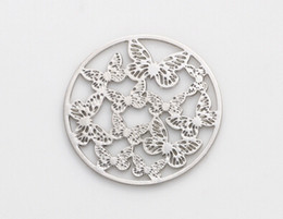 20PCS lot 22MM Silver Plated Round Hollow Butterfly Floating Window Plates Fit For 30mm Magnetic Memory Glass Locket