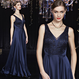 Elegant Custom Made Navy Blue Evening Dresses V-Neck Sexy Backless Appliques Lace Sleeveless Floor Length Long New Evening Gowns For Women