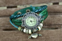Wholesale Hot sale antique watch ladies fashion watch Flower case genuines leather with angel pendant watch YL950ANGEL Free amp Drop